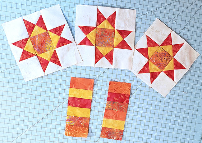 Ohio Star Table Runner in fiery orange Tutorial finished block