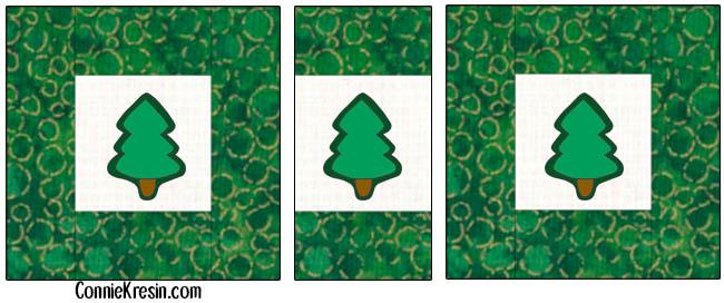 Pine Tree table runner tutorial layout diagram