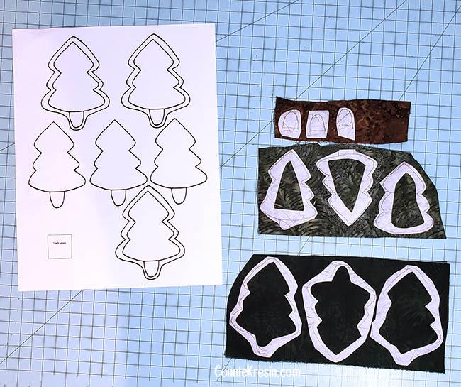 Pine Tree table runner tutorial applique pieces
