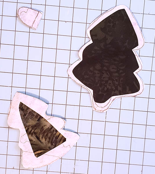 Pine Tree table runner tutorial applique pieces closeup