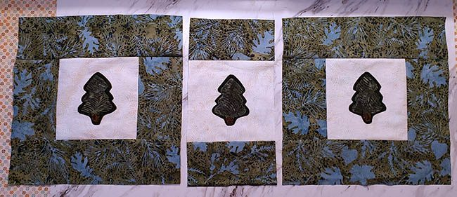 Pine Tree table runner squares