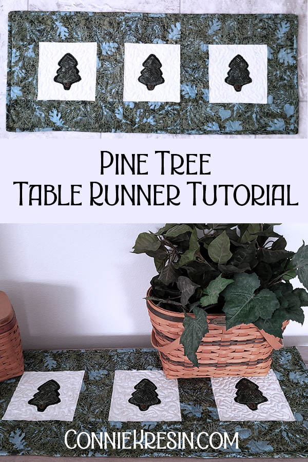 Pine Tree table runner tutorial easy to make free applique template
