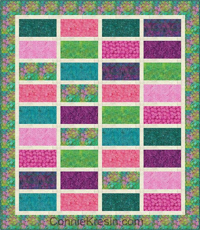 Sparkles quilt pattern made with Petal Pushers batiks