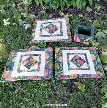 Square in a square quilt block tutorial for autumn