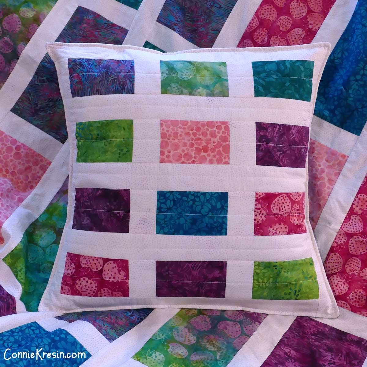 Sparkles quilted pillow made with straight stitching