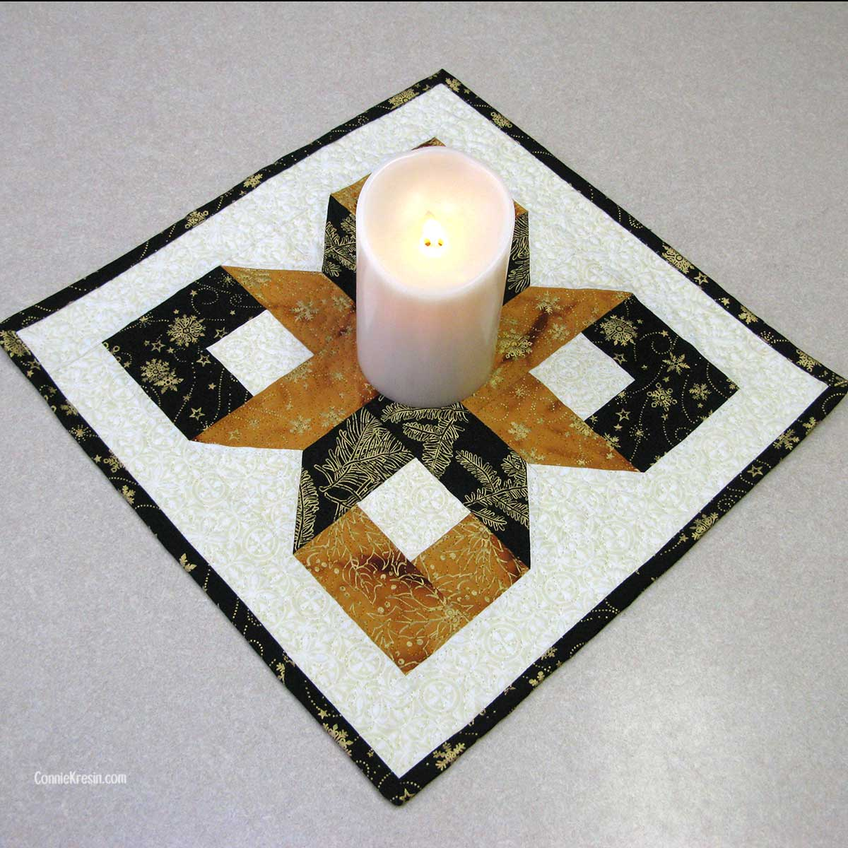 Silent Night Table Topper made from the Box Quit Block