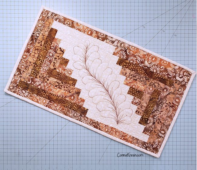 Free-motion Feather Template for Log Cabin Runners