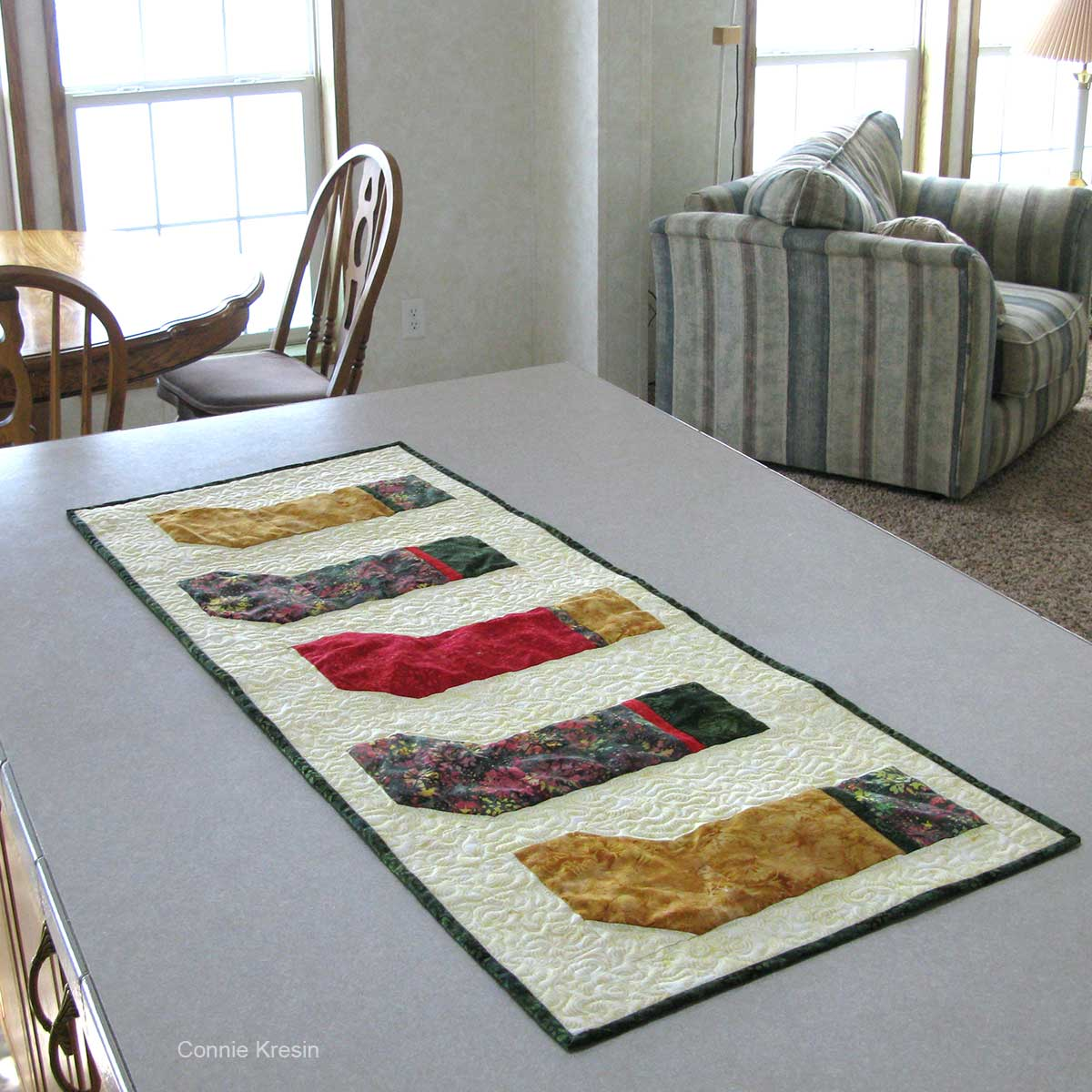 Table runner on bar in the kitchen