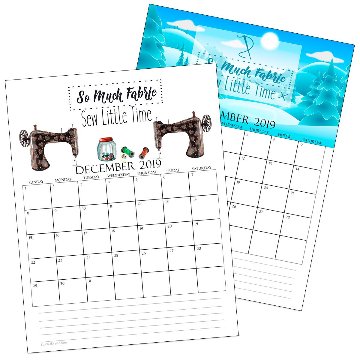 December 2019 Sewing Calendars