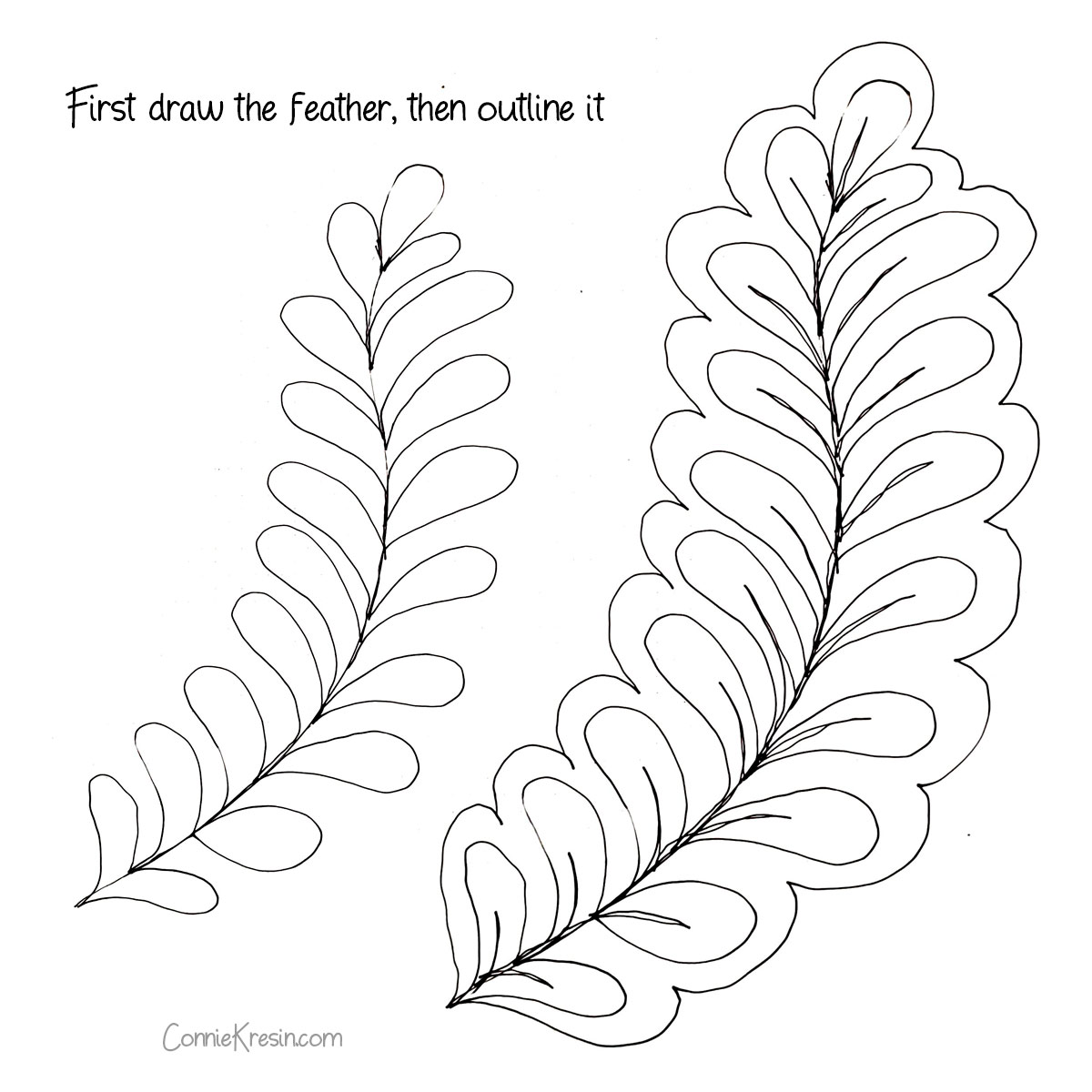 Diagram of outlined quilted feather