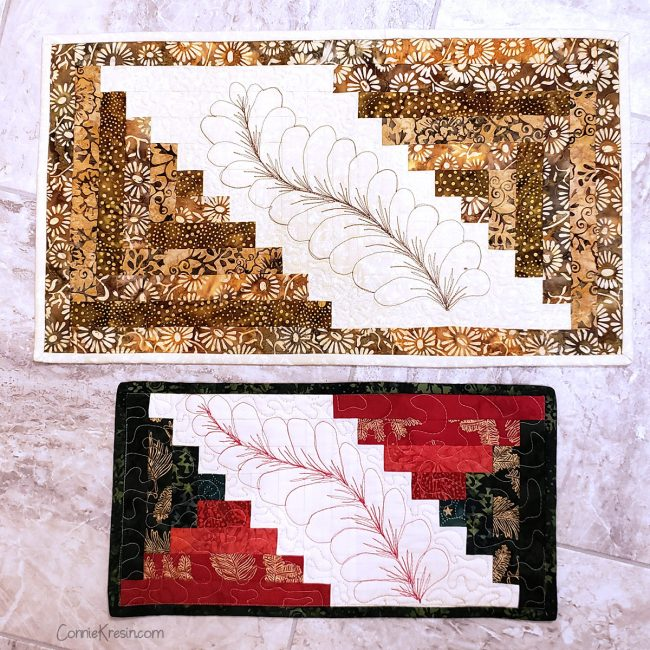 Two sizes of free-motion feather stitch table runners