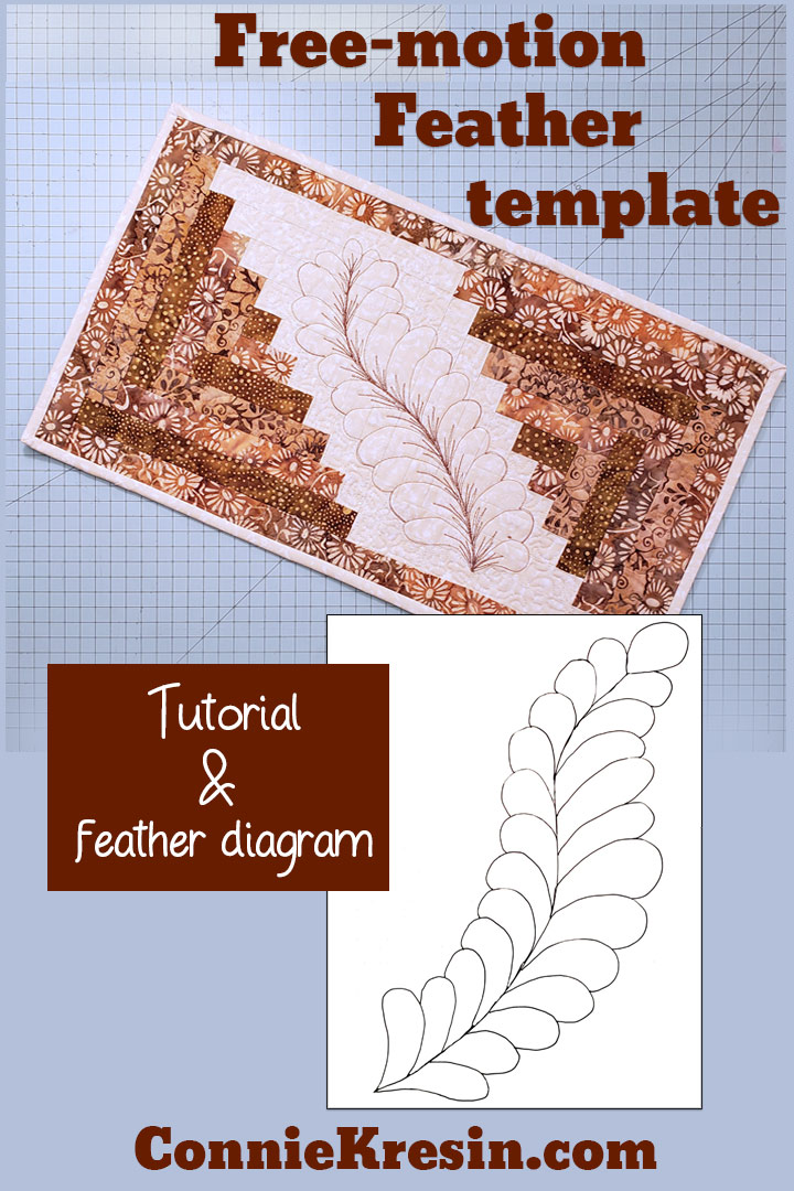Free-motion feather template for the mini log cabin table runner tutorial