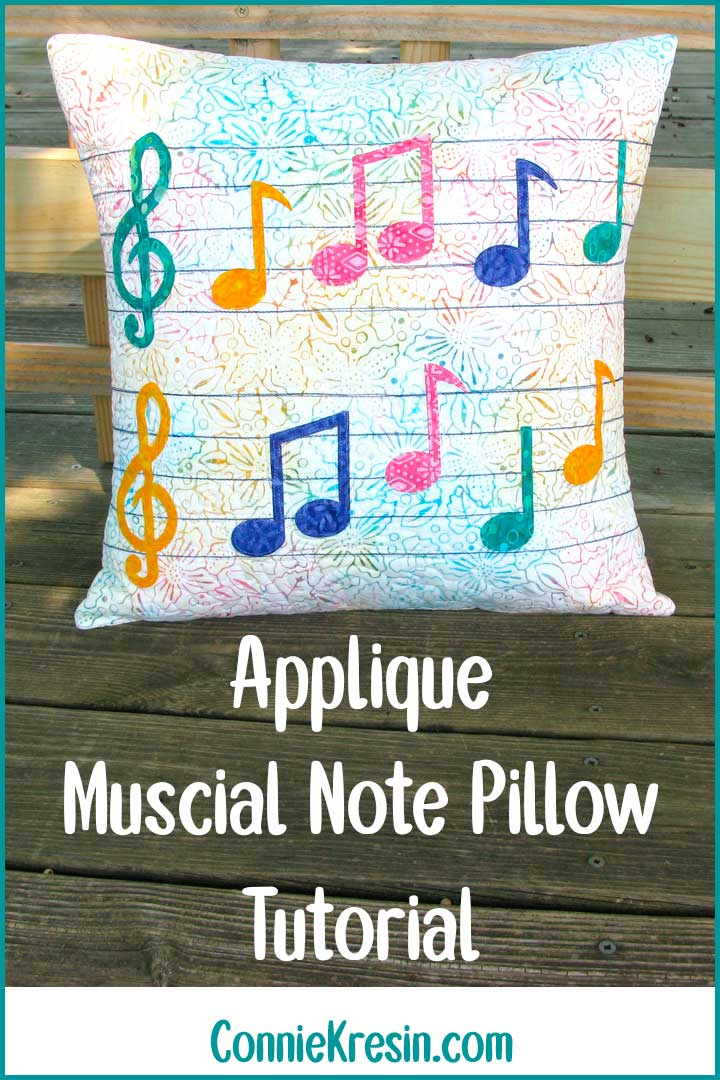 Easy Applique Musical Note Pillow tutorial