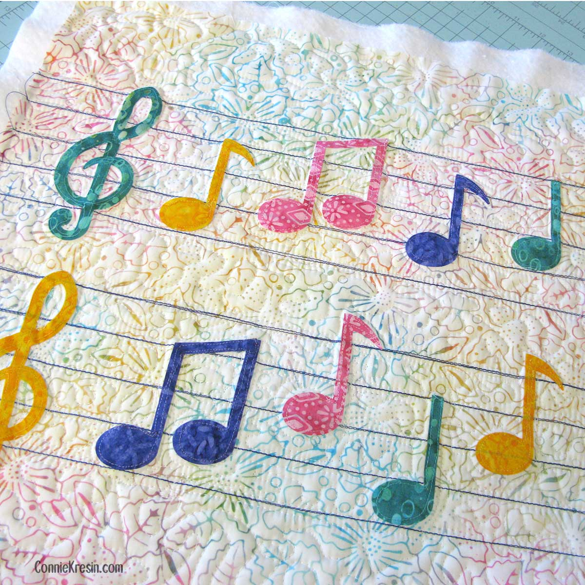 Quilting on the Musical Notes pillow