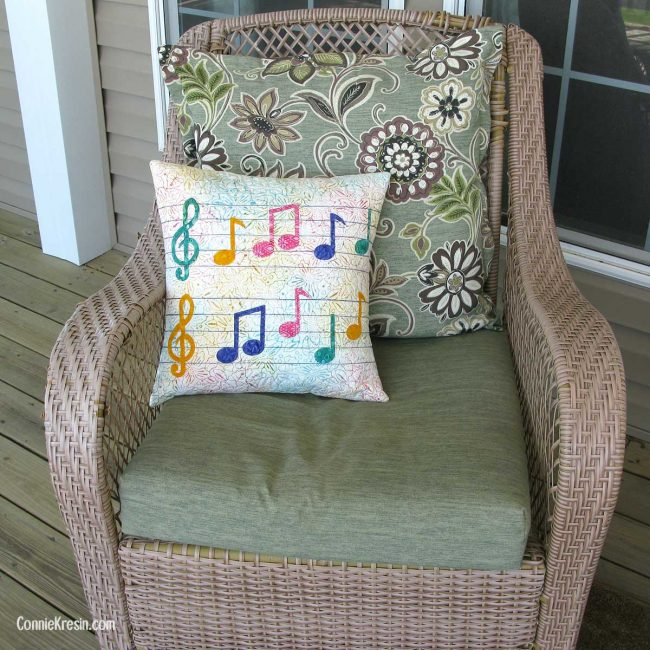 Easy to make Musical applique pillow on chair