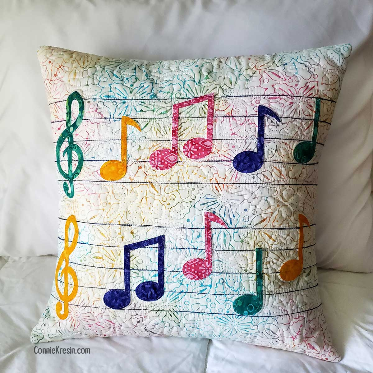 Musical Notes Applique Pillow Tutorial