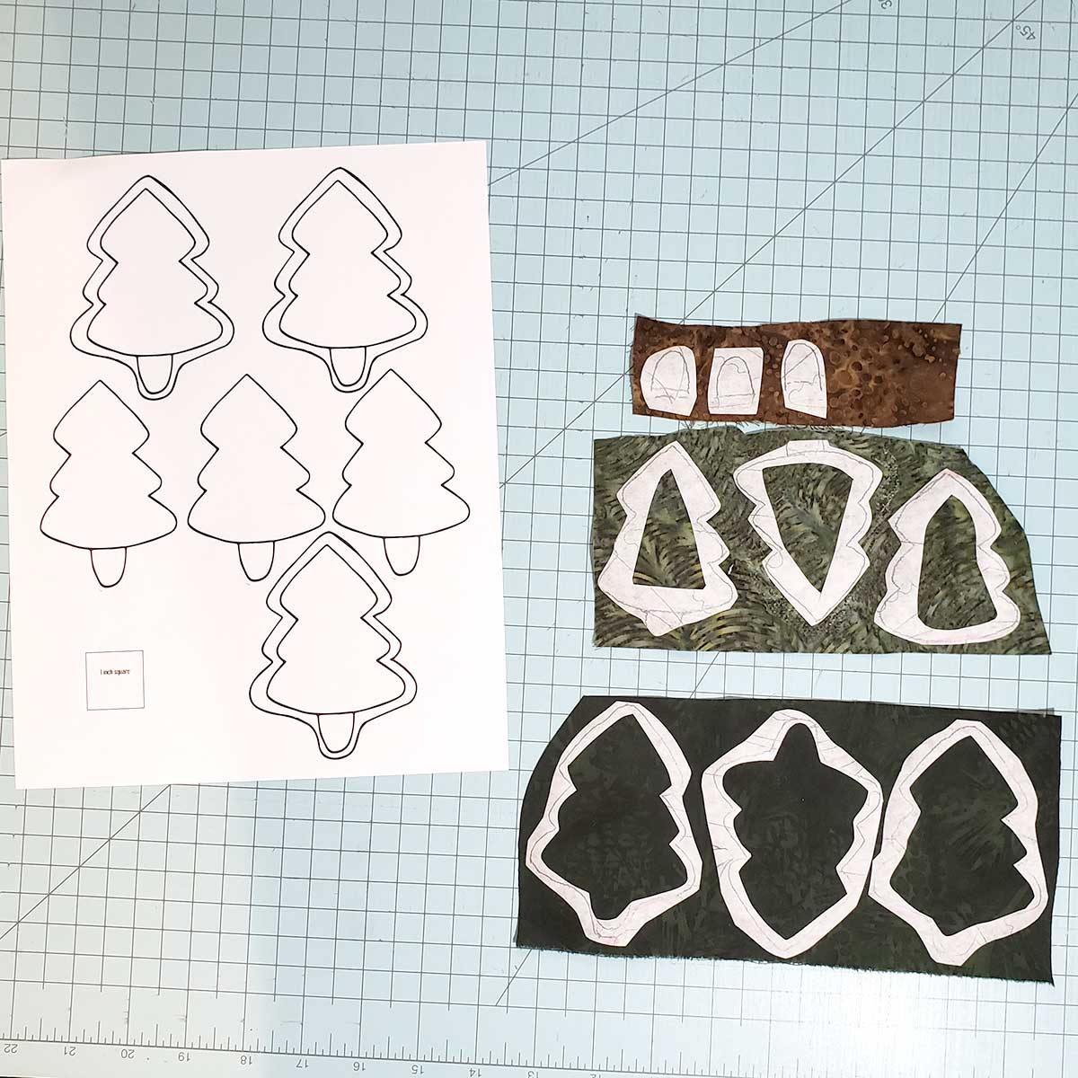 Applique pieces for the Pine Tree table runner tutorial