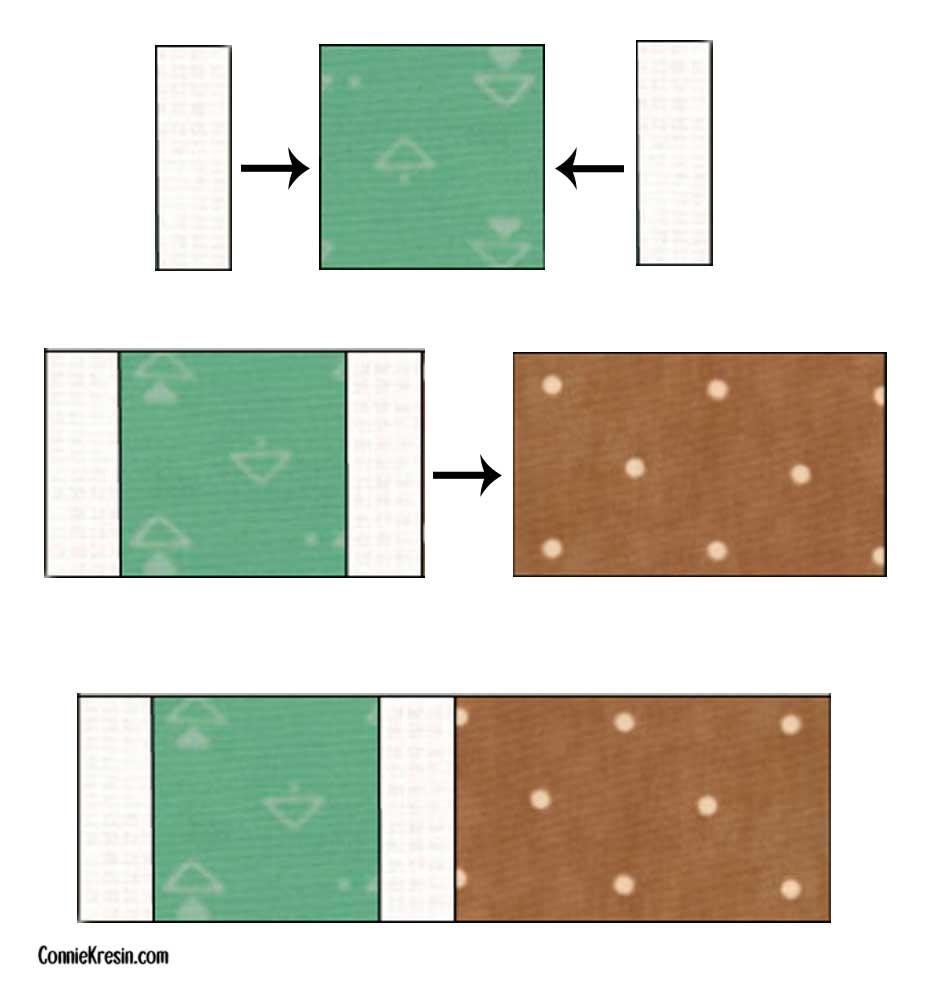 Diagram showing how to cut Brick Road quilt fabric