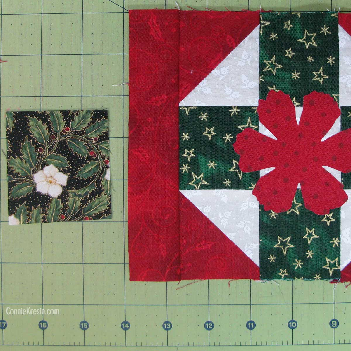 Christmas fabric with flower for applique