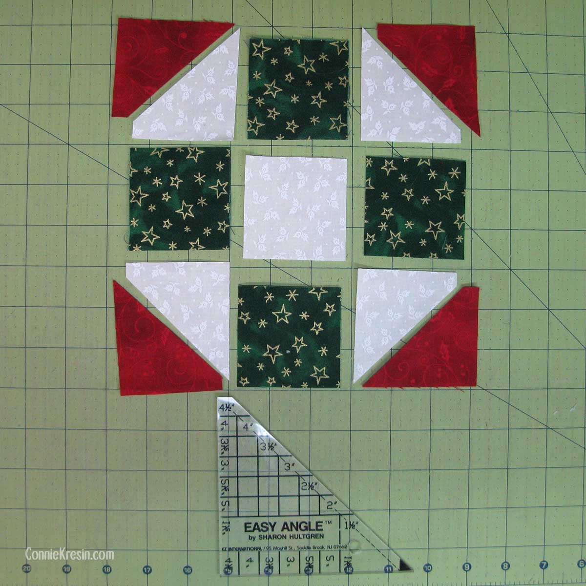 Fabric cut for the mug rug using the Easy Angle ruler