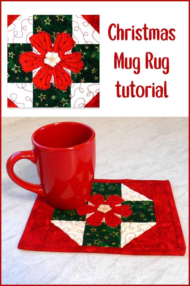 Christmas Mug rug with applique flower tutorial
