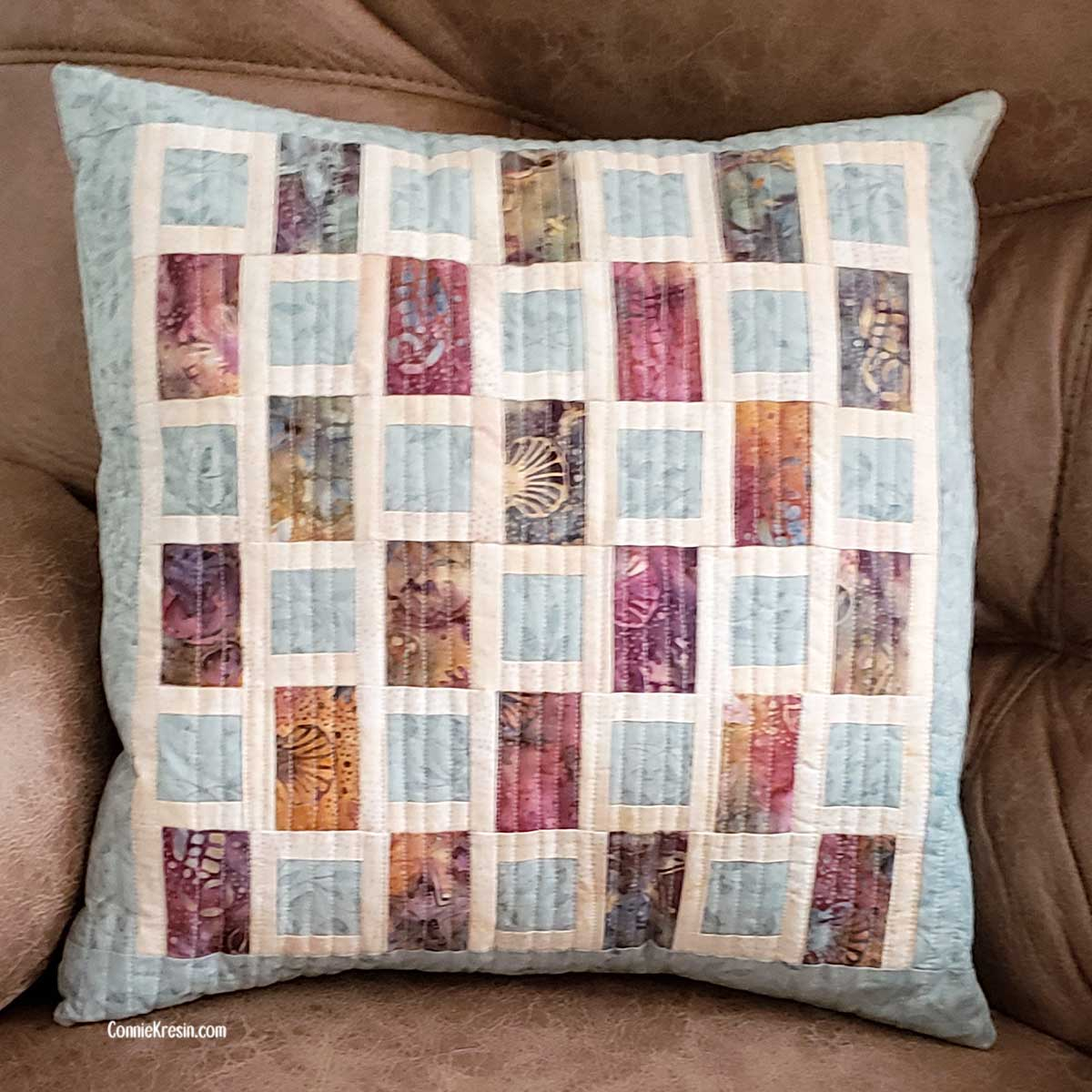 Brick Road Pillow turned vertically