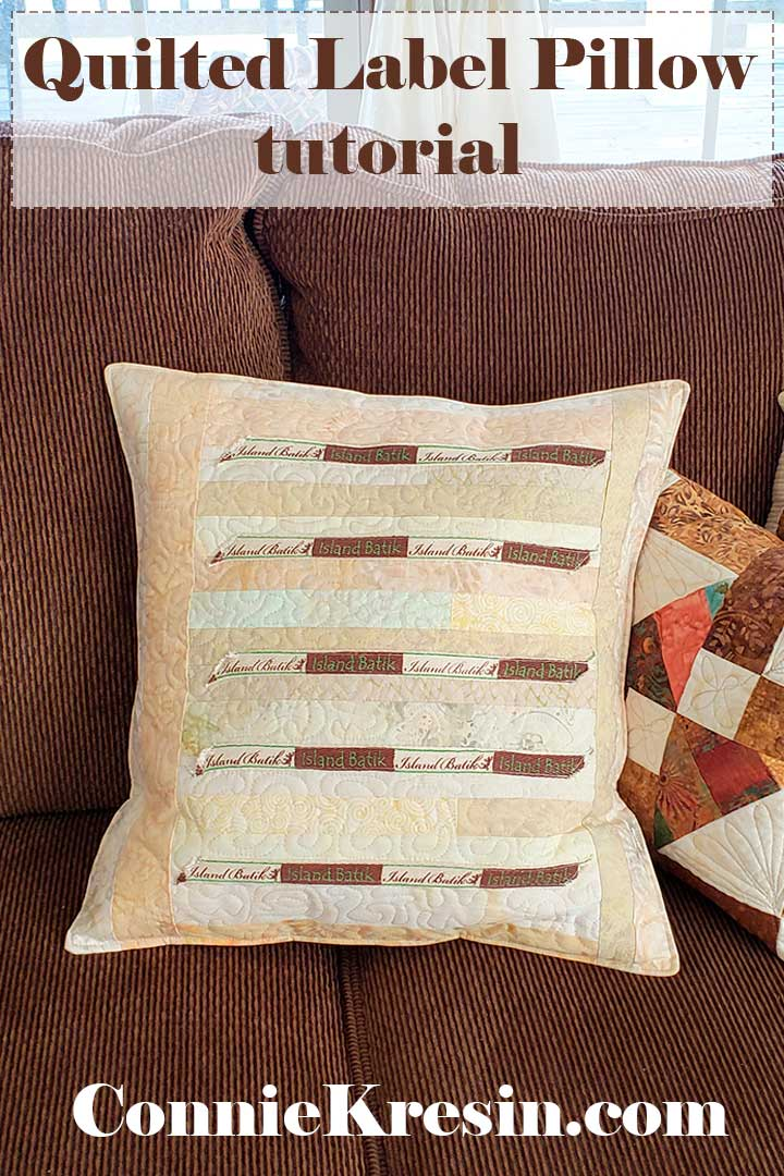 quilted label pillow tutorial