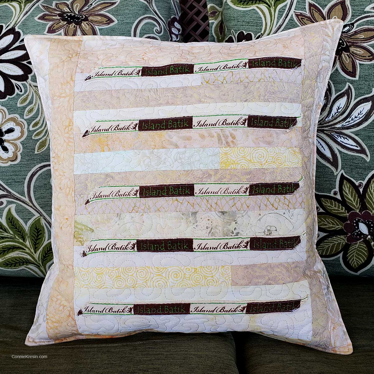 Quilted pillow made with labels from Island Batik fabric easy tutorial