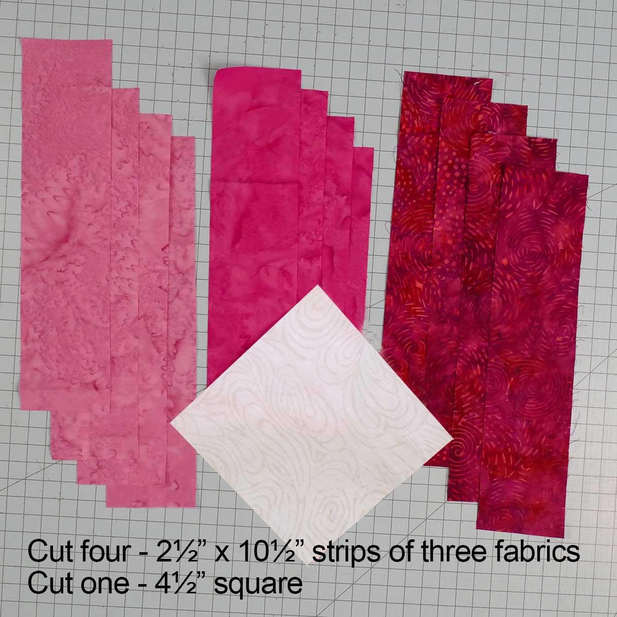 Rainbow Rail Fence fabric cuts