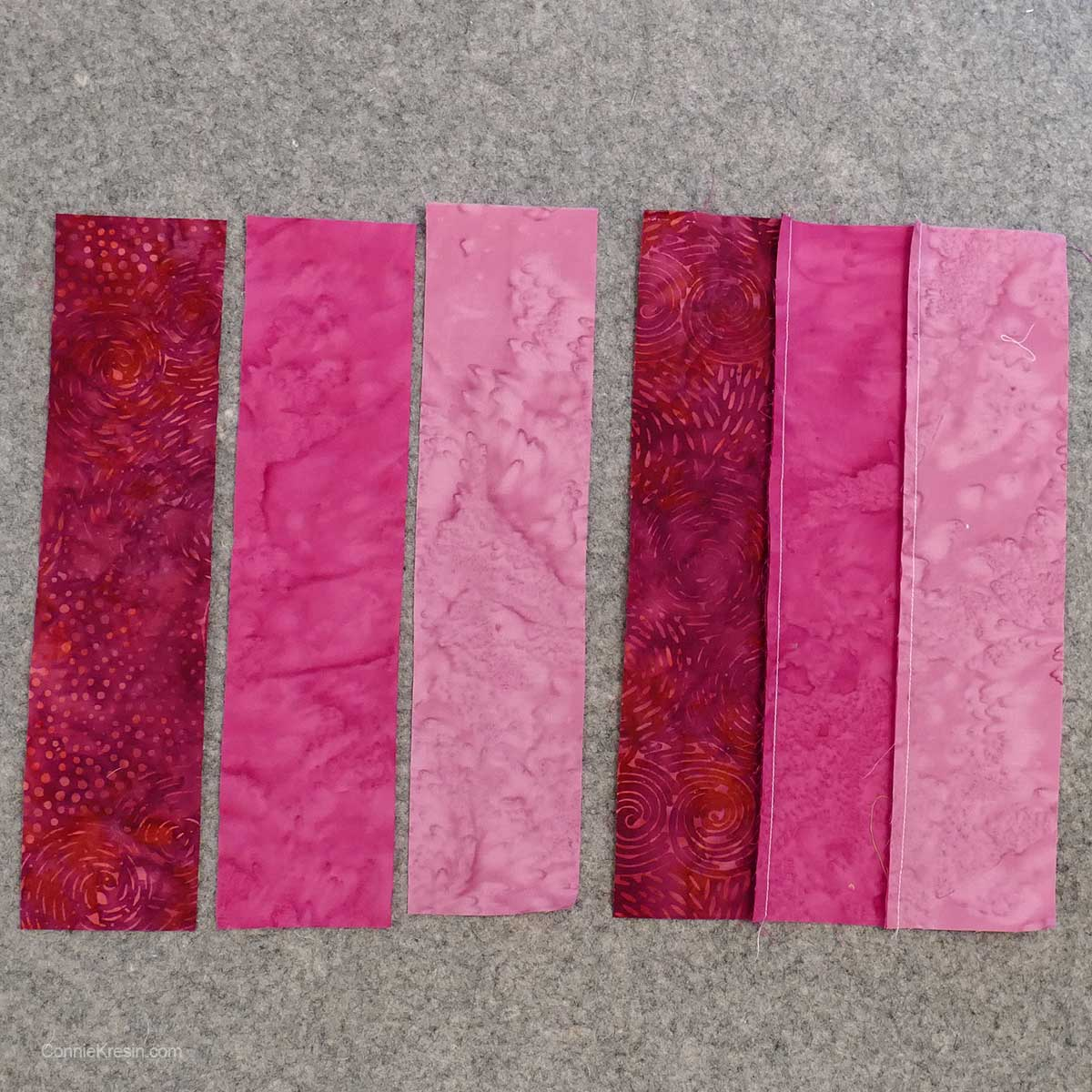 Sew the rainbow rail fence strips together