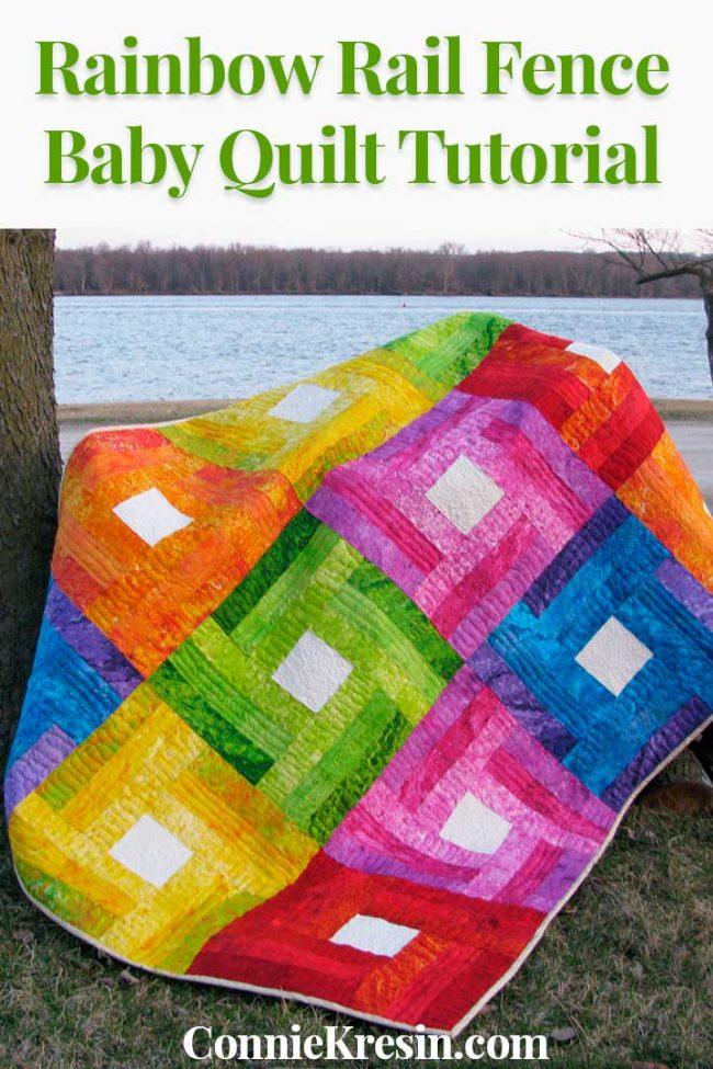 Rainbow Rail Fence Baby quilt tutorial
