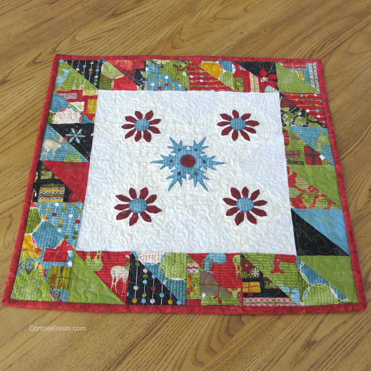 Winter Snowflake quilted applique center piece