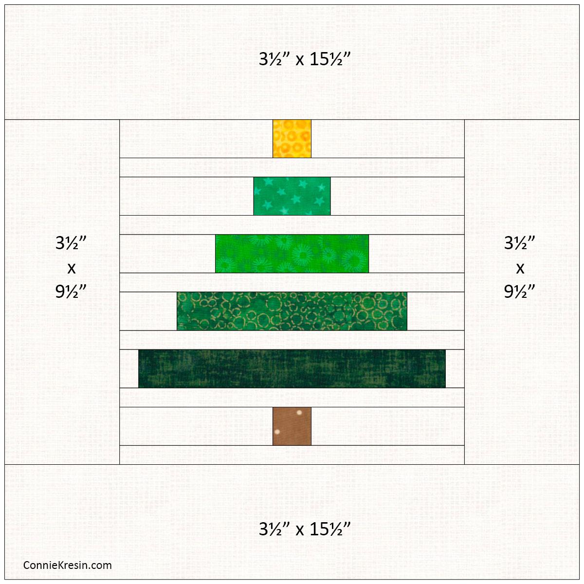Wonky Christmas Tree Pillow Tutorial add the border