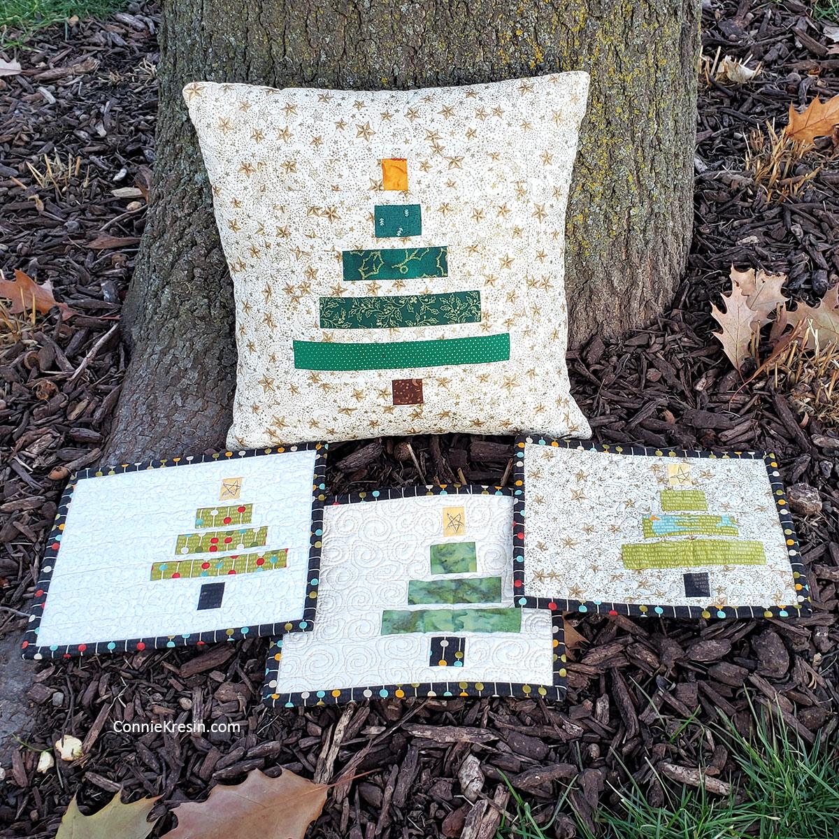 Wonky Christmas Pillow and mug rugs tutorials