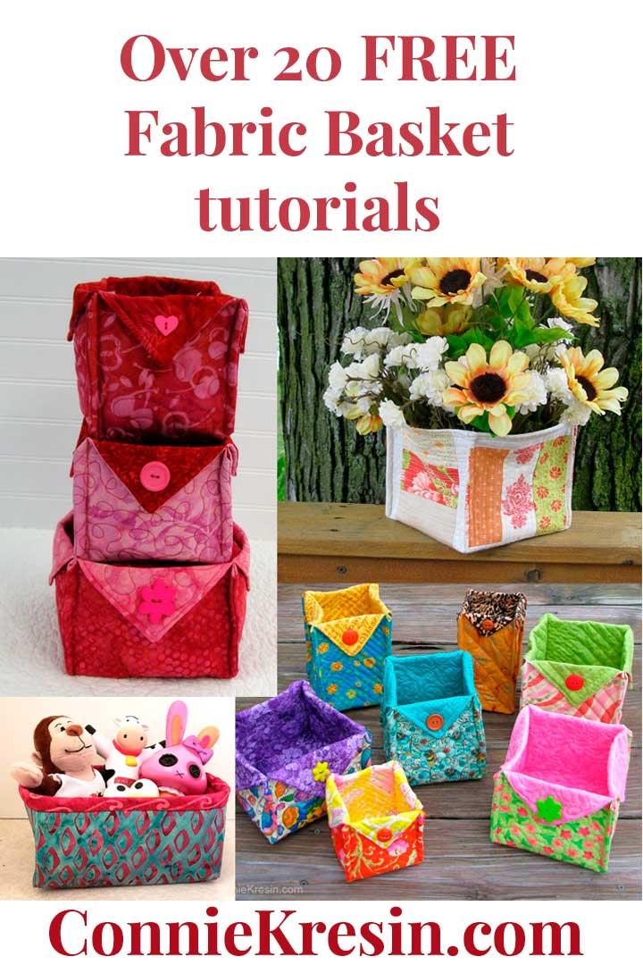 Over 20 free fabric basket tutorials