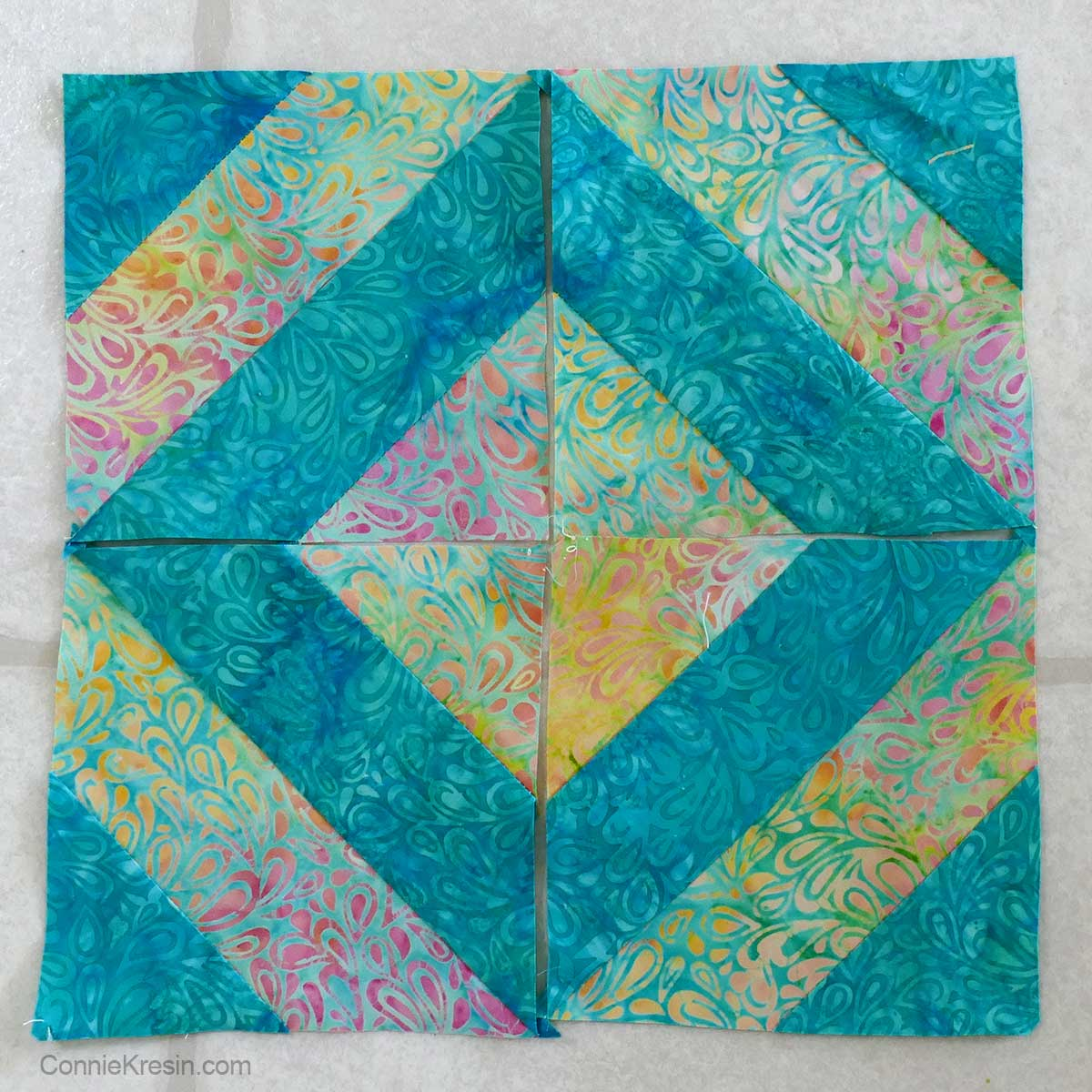 45-degree ruler quilt block in 4 sections