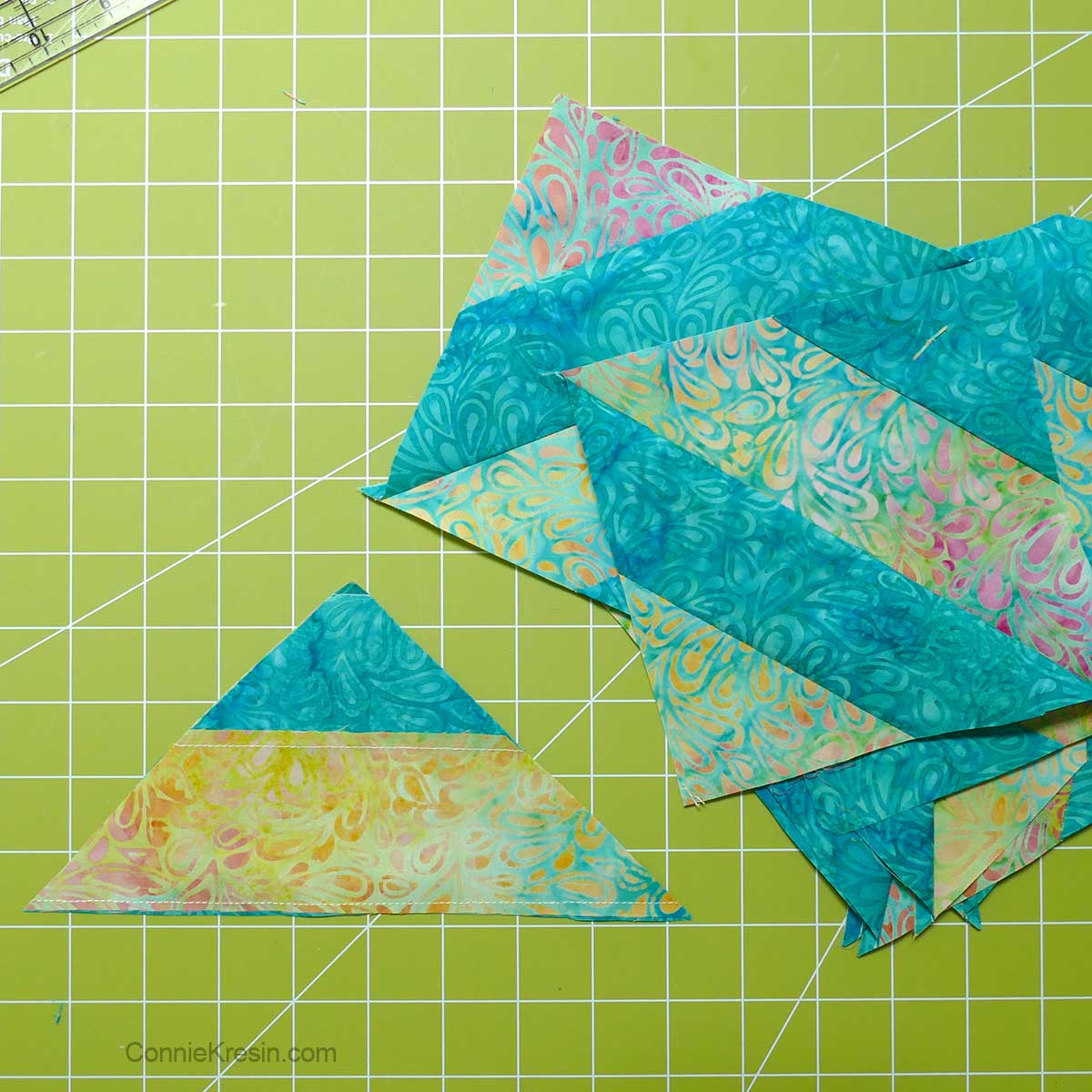 Simple but not perfect way to cut the quilt blocks