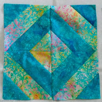 Strip tube 45-degree quilt block tutorial
