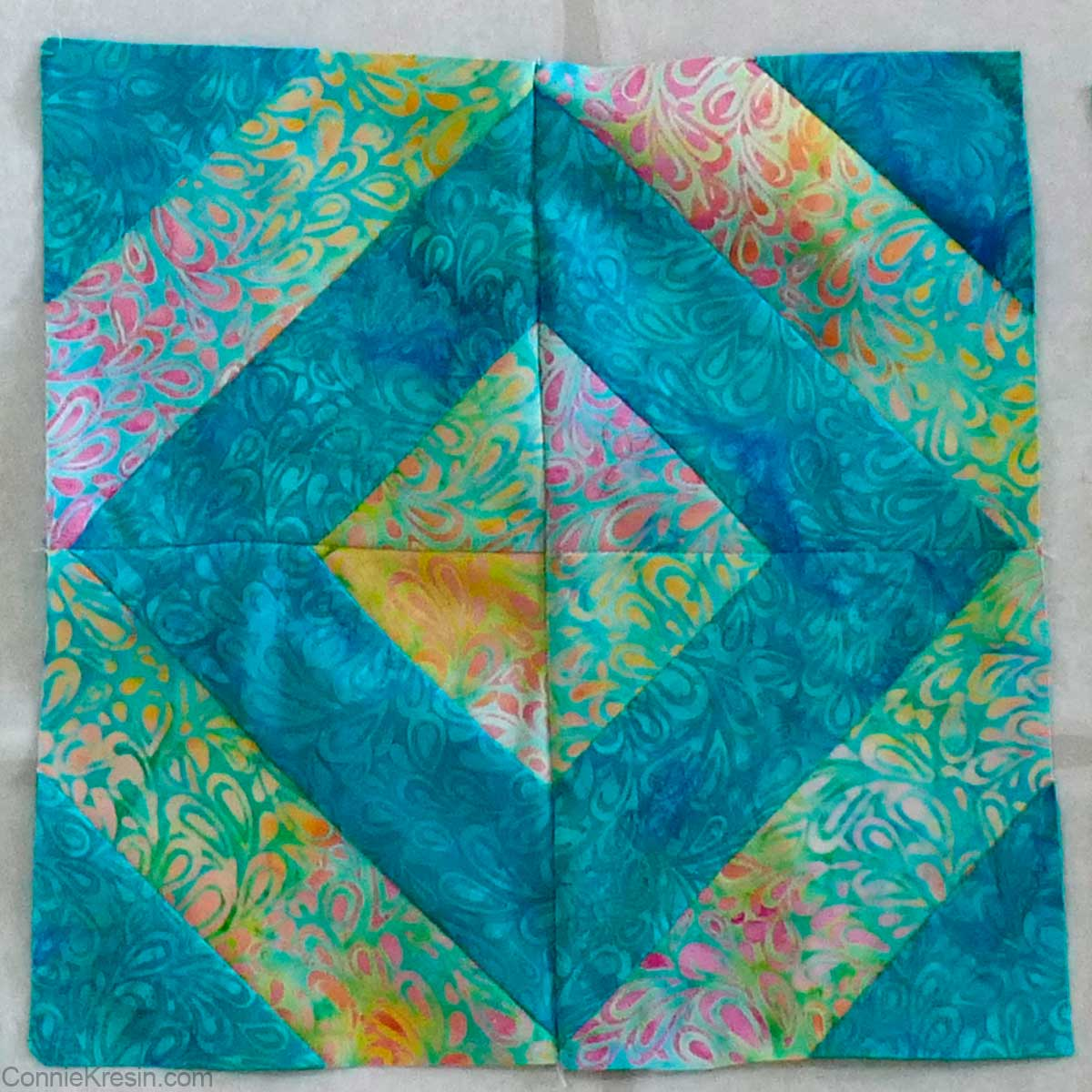 45-degree angle strip quilt block