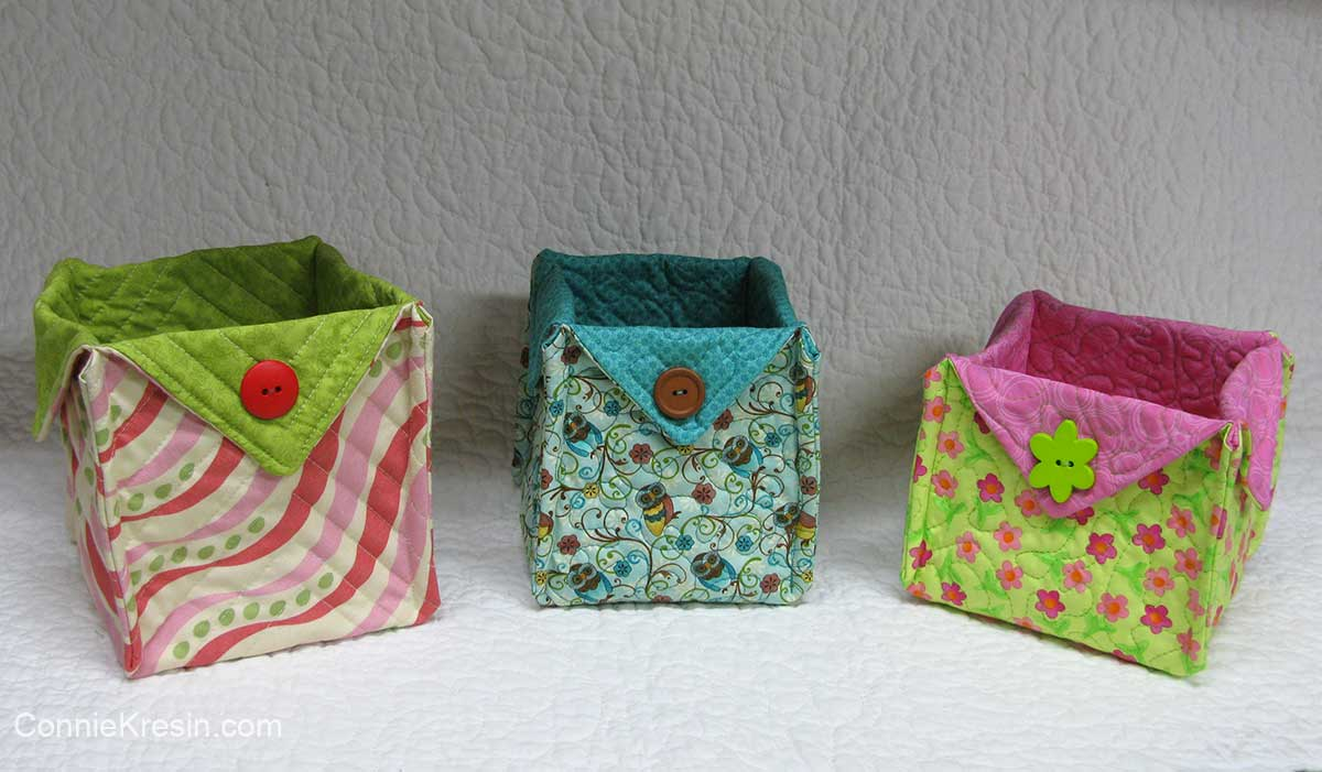 3 different fabric baskets