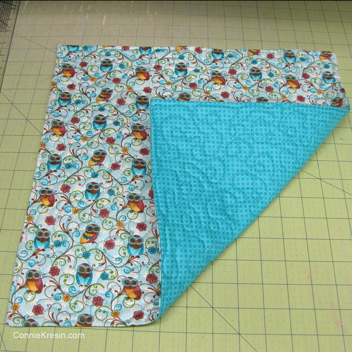 Quilting the fabric for basket