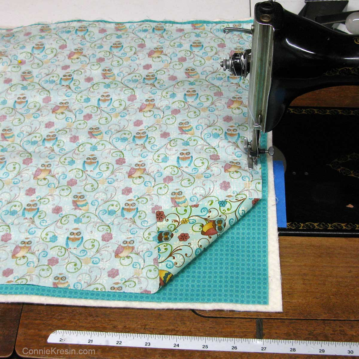 Layer the fabrics and sew