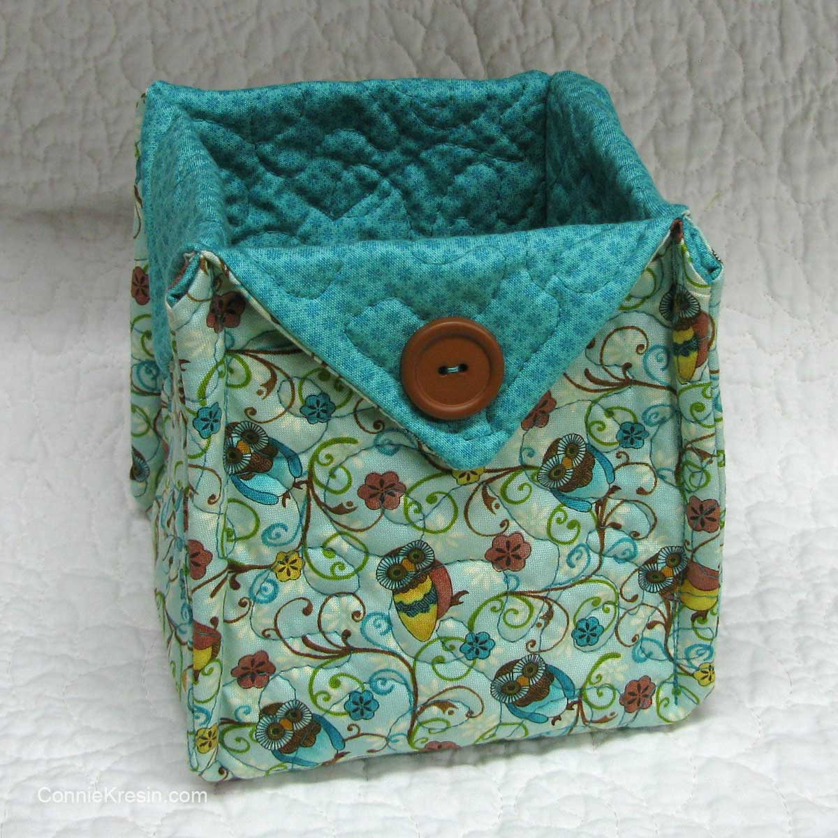 Teal fabric basket