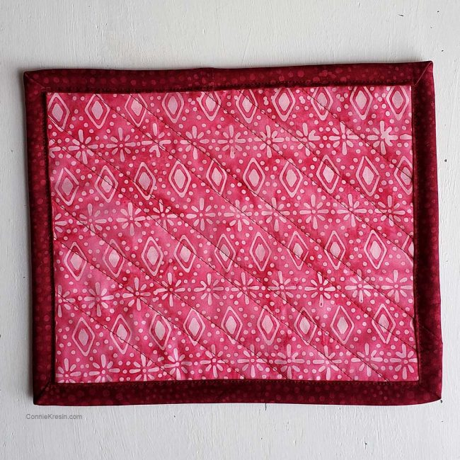 Easy Quilted Mug Rug Tutorial back of it