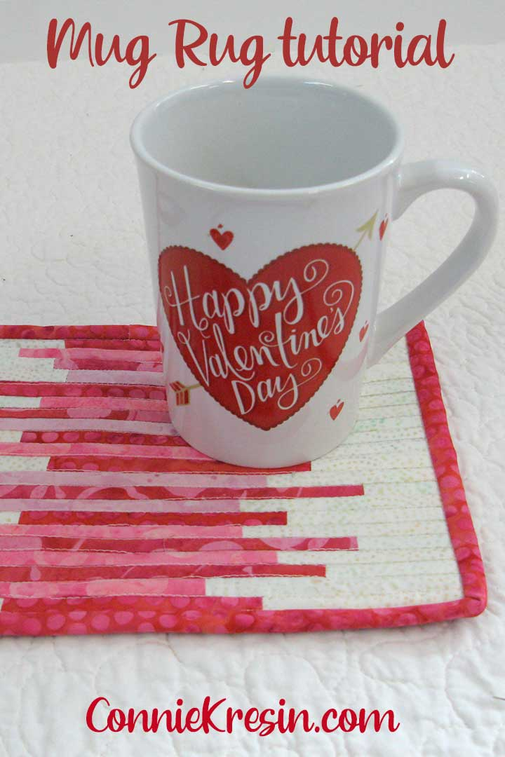 Quilted Mug rug tutorials for Valentine's Day