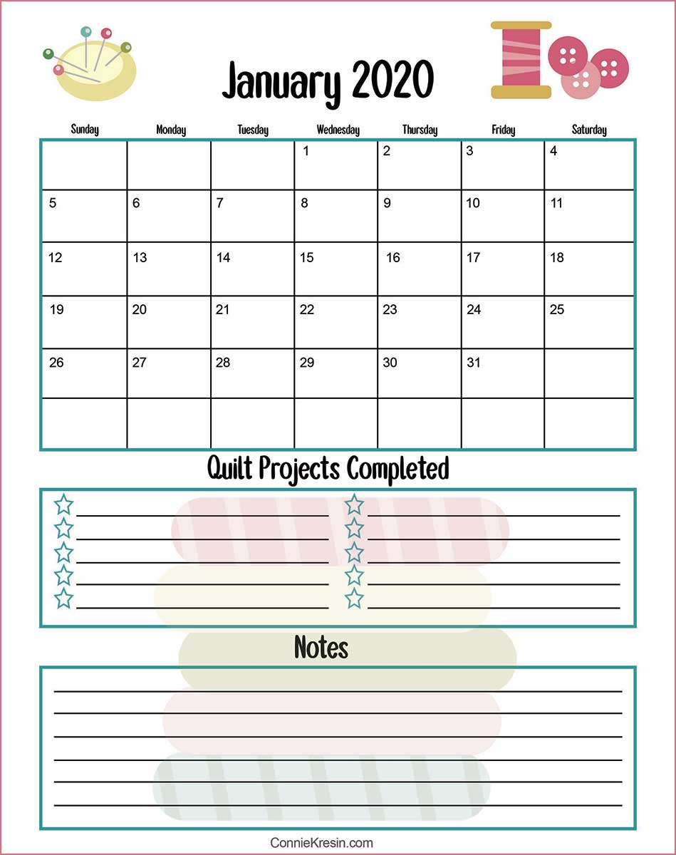 January 2020 quilters free printable calendar