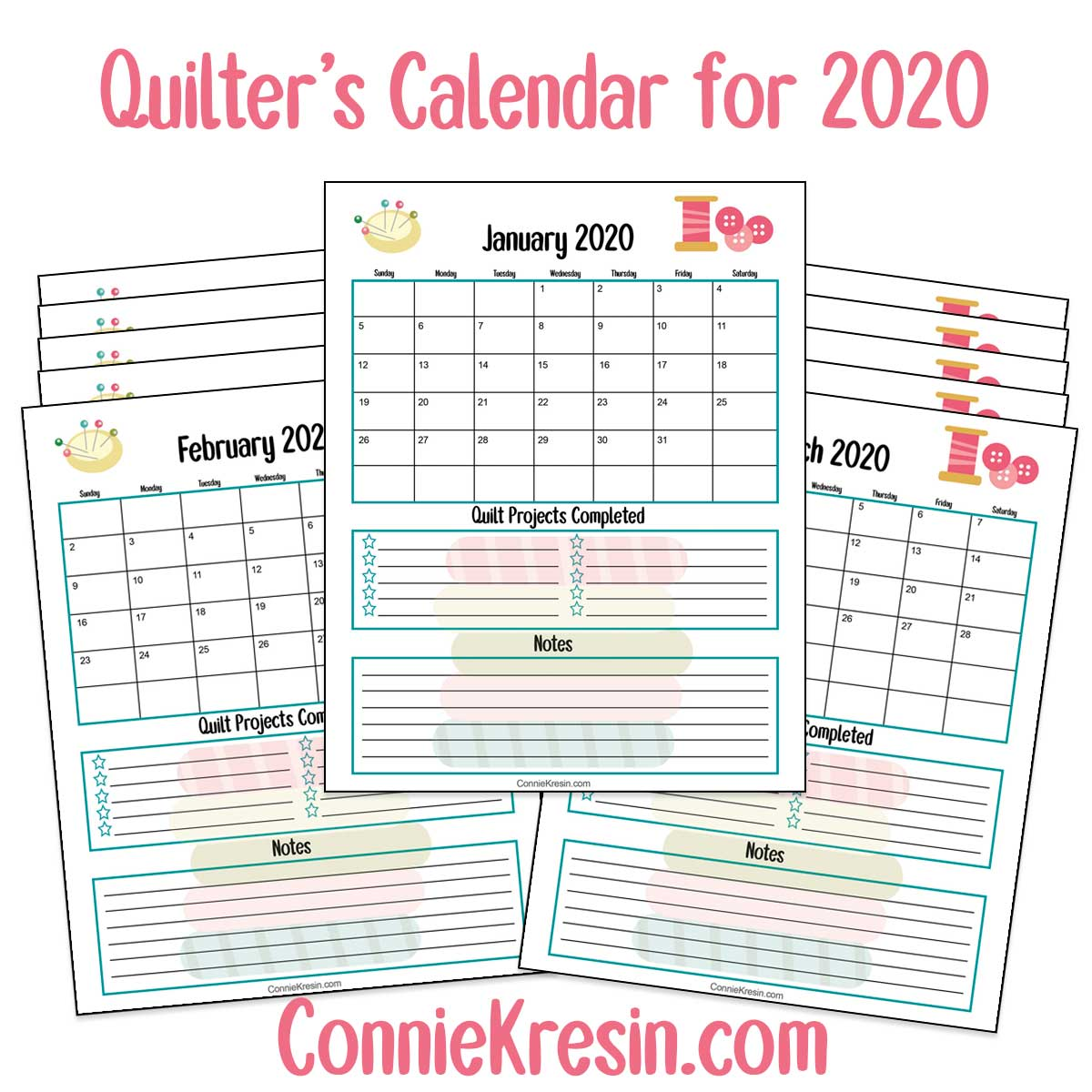 Free downloadable Quilters Calendar for 2020