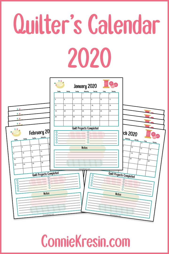 Free Quilter's 2020 calendar printable