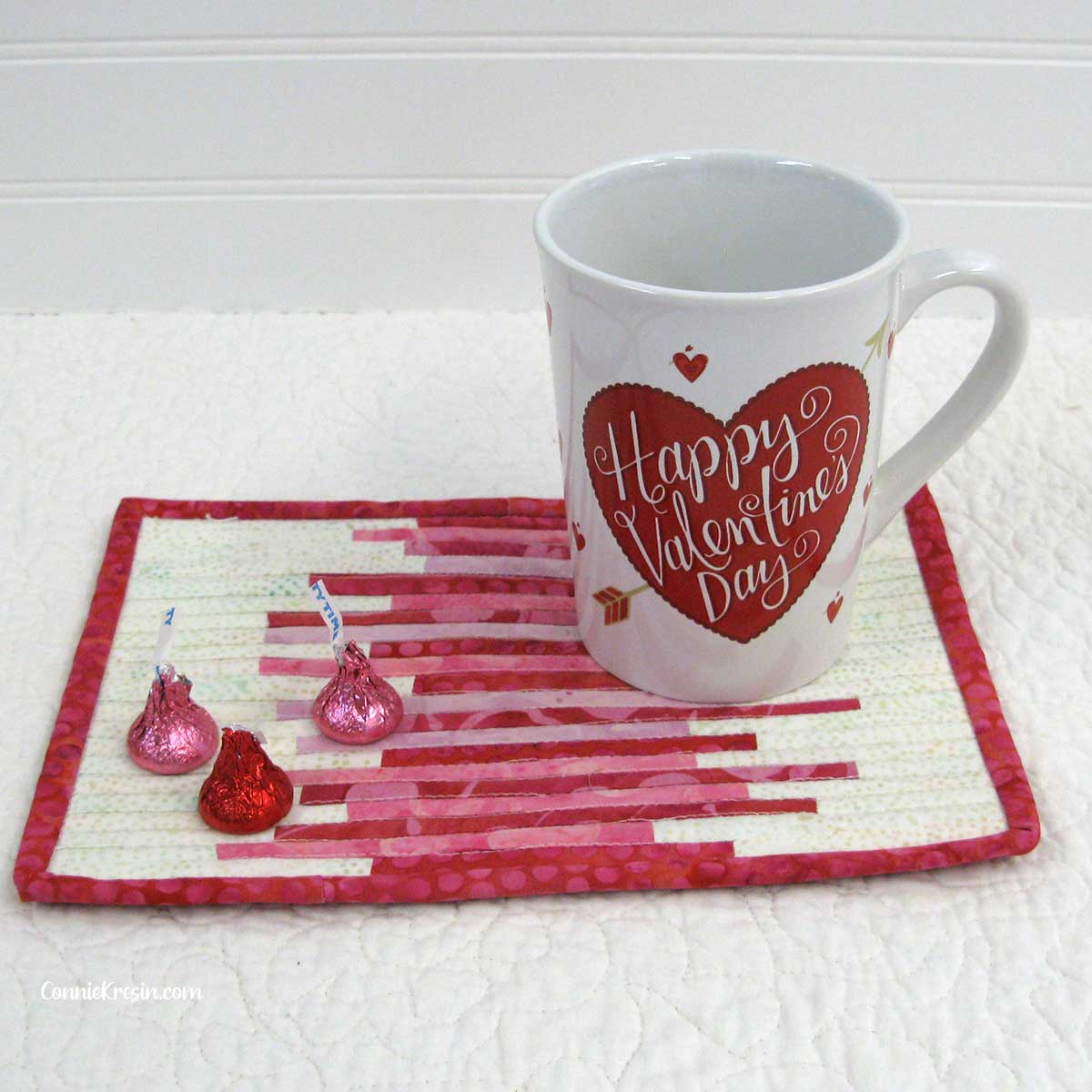 Valentine Day mug rug and candy kisses