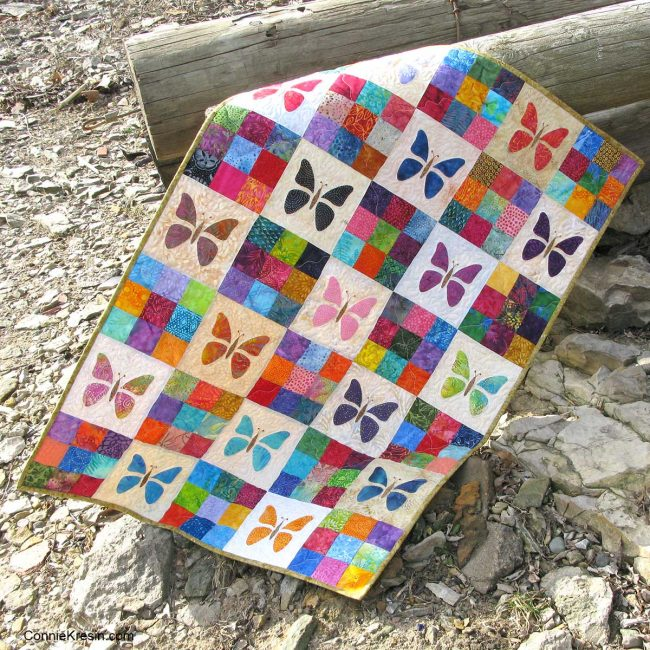 Applique butterfly baby quilt on beach